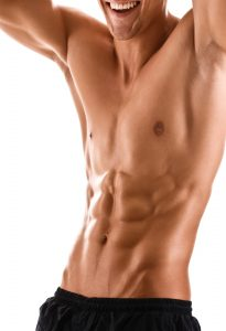 Half naked body of muscular athletic man, isolated on white